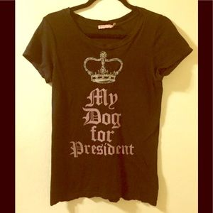 """Juicy Couture Bk/Pk/Silv """"My Dog for Pres"""" Shirt M"""